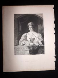 After Hollins 1846 Antique Pretty Lady Print. The Baron's Daughter